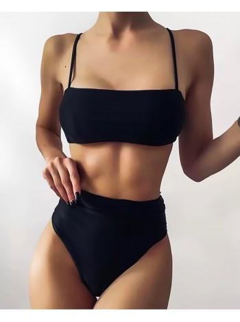 Раздельный женский купальник бандо с высокими трусиками бразильяна S, M