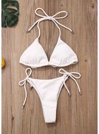 Белый женский купальник-шторки на завязках