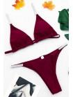 Бордовый купальник-треугольник с трусиками бразилиана XS-S
