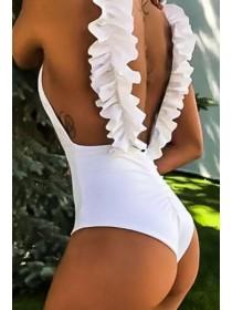 Слитный женский купальник рюши плавки-бразилиана с сборкой S, M