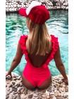 Слитный женский купальник рюши плавки-бразилиана с сборкой XS, S, M