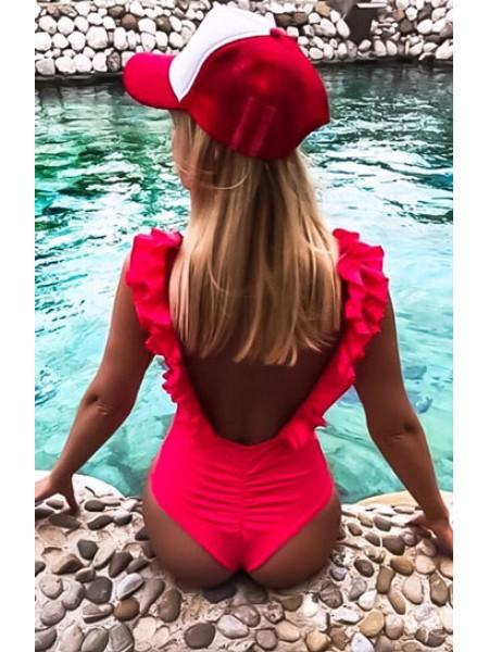 Яркий неоновый купальник с рюшами бразилиана