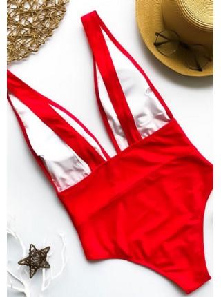 Красный сдельный купальник с глубоким декольте S, M