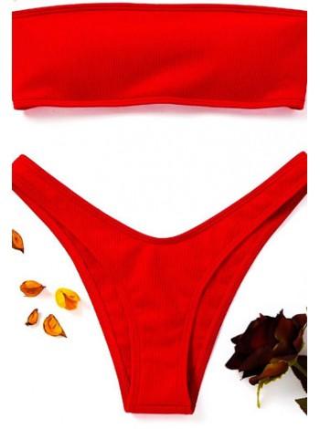 Яркий красный купальник бандо со шнуровкой + трусики танго