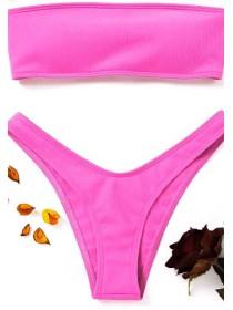 Розовый женский купальник в рубчик сзади со шнуровкой