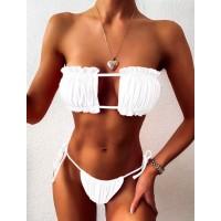 Белый раздельный купальник бандо с бразилиана на завязках