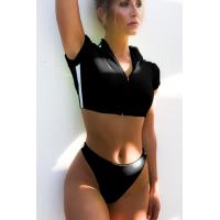 Спортивный женский черно-белый купальник топ со змейкой + стринги лампасы