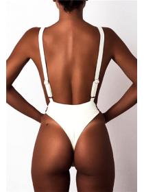 Сдельный женский белый купальник со стрингами съемные чашки M, L