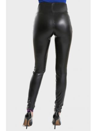 Модные кожаные леггинсы с широким поясом