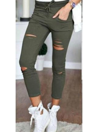 Женские укороченные брюки леггинсы с разрезами на коленях