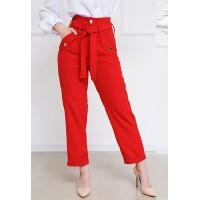 Женские прямые брюки с отворотами