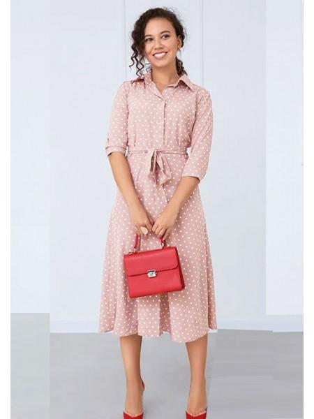 Легкое платье в горошек с пуговицами