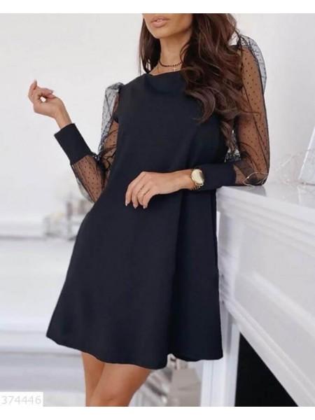 Нарядное платье трапеция с рукавами сетка