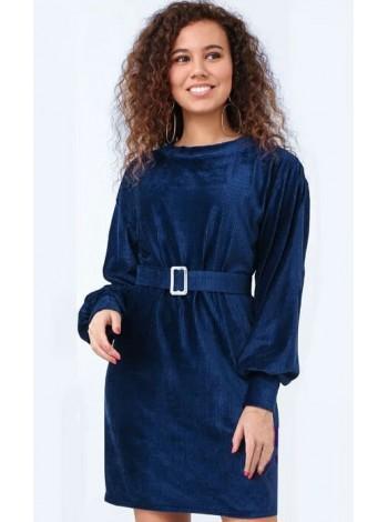 Вельветовое платье с поясом