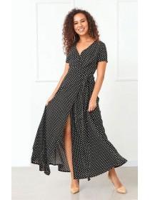Длинное платье на запах в горошек