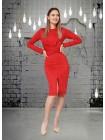 Элегантное замшевое платье с разрезом