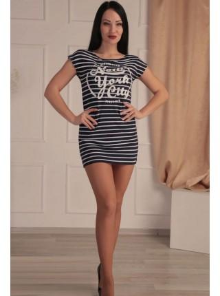 Короткое платье-туника в полоску