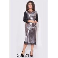 Вечернее платье Миди эко-кожа серебро