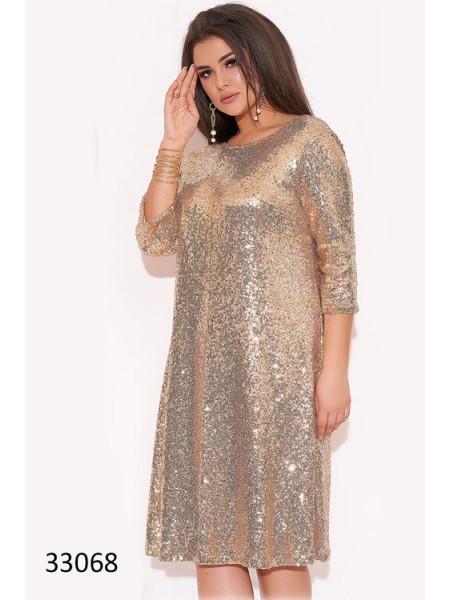 Вечернее платье с пайетками для полных