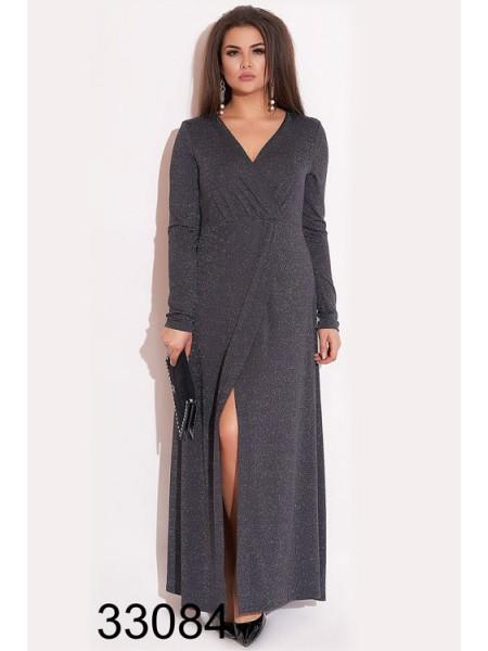 Вечернее платье с люрексом в пол для полных