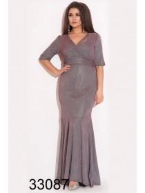 Вечернее платье рыбка с люрексом для полных