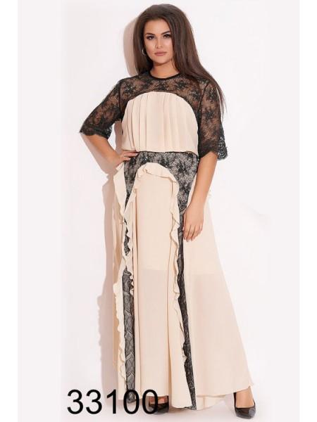 Длинное вечернее платье с кружевом