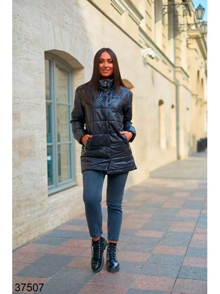 Удлиненная куртка с воротником стойка