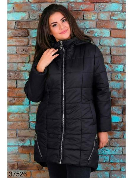 Теплая удлиненная куртка для полных