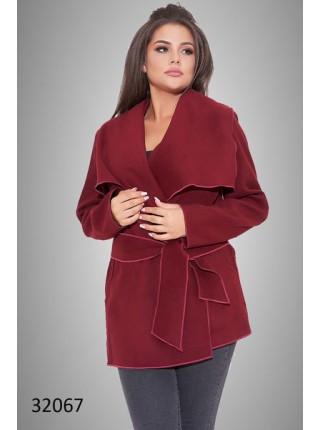 Короткое кашемировое пальто на запах