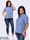 Женская рубашка в клетку с коротким рукавом