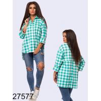 Рубашка в клетку короткая спереди длинная сзади