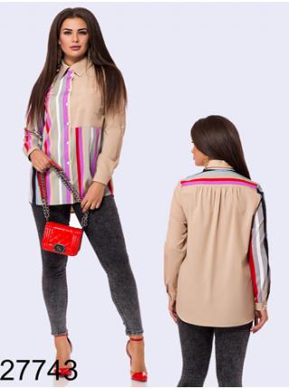 Женская рубашка в цветную полоску