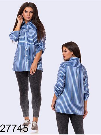 Рубашка в полоску с регулируемой длиной рукава