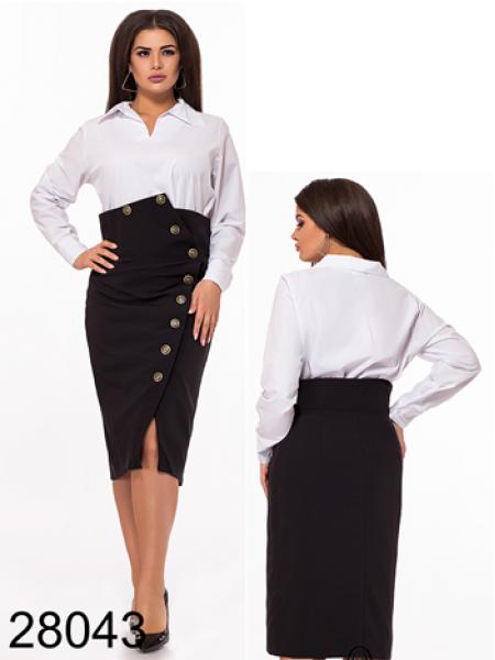 Белая блузка с длинным рукавом