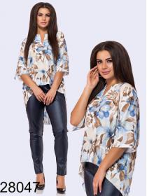 Цветочная блузка-туника удлиненная сзади