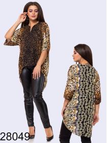 Леопардовая блузка-туника удлиненная сзади