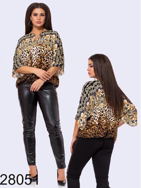 Нарядная шифоновая блузка леопардовый принт