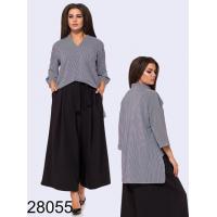 Блузка в полоску длинная сзади