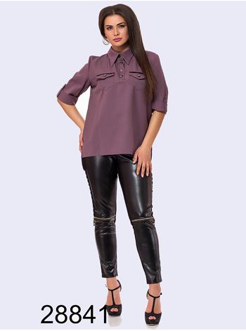 Женский костюм двойка брюки эко-кожа + блузка