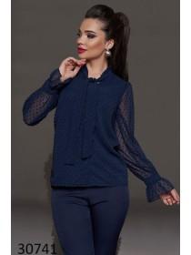Модная блузка с рукавом сетка горох