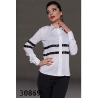 Офисная блузка белая с черным длинный рукав