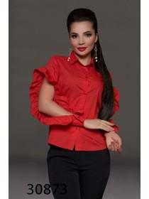 Красивая женская блузка с рюшами на рукавах