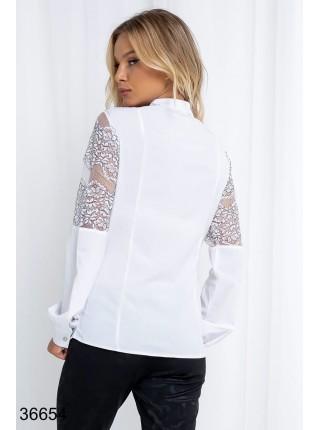 Белая вечерняя блузка с гипюром