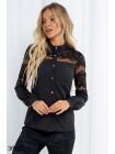 Черная вечерняя блузка с гипюром