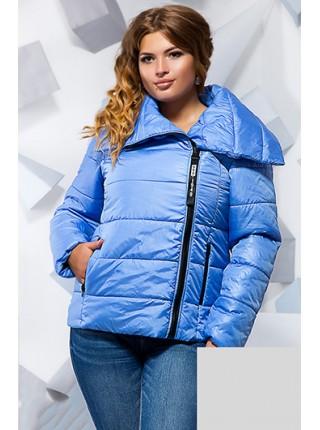 ... Коротка осіння куртка з великим коміром для повних 2c130b7d67720