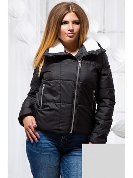 Коротка демісезонна куртка на хутрі для повних 8475e6978a3da
