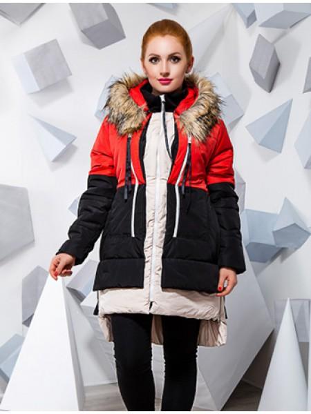 Зимова довга куртка з хутром для повних 1adf0c9419d92