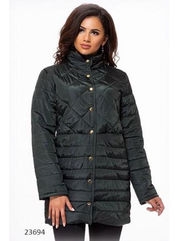 Осенняя удлиненная стеганная куртка на синтепоне
