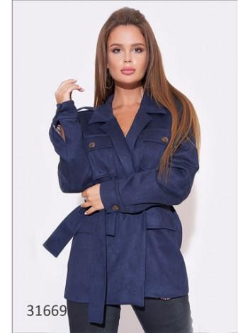 Замшевая куртка жакет с поясом