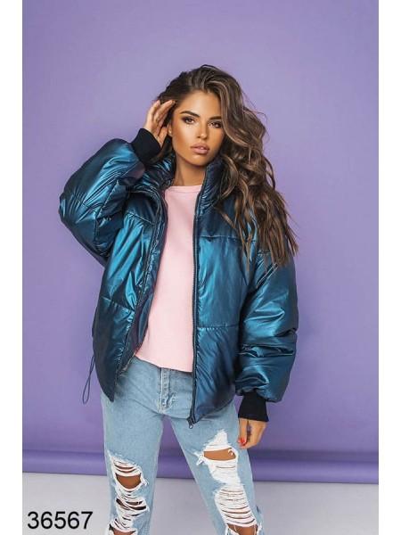 Блестящая куртка с эффектом металлик